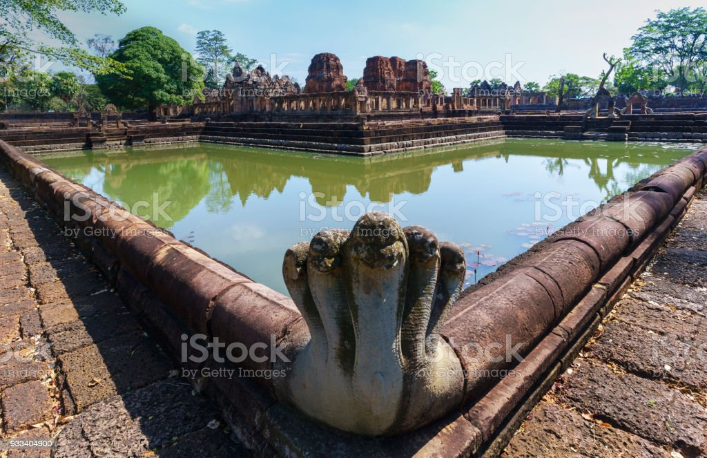 Beautiful Prasat Muang Tam ( lowland castle ) with reflection , Buriram Province , Thailand stock photo