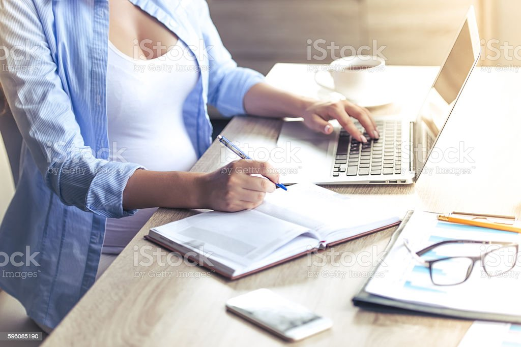 Beautiful pregnant business woman royalty-free stock photo