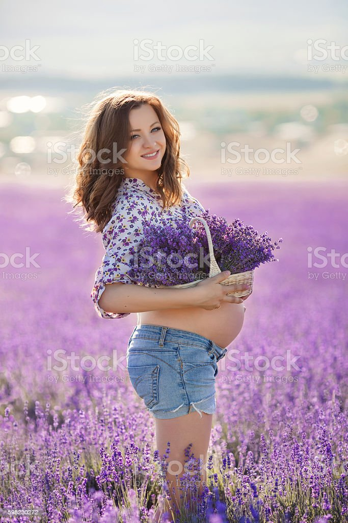 Beautiful pregnant woman in the lavender field. foto royalty-free