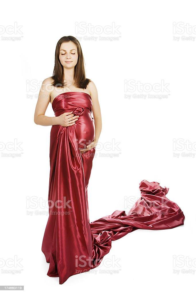 7b2d306492e76 Beautiful Pregnant Woman Wearing Red Silk Dress Stock Photo & More ...