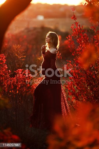 1136623274istockphoto A Beautiful pregnant woman with blond hair in long red dress 1145207661