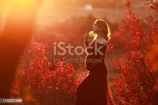 istock A Beautiful pregnant woman with blond hair in long red dress 1145207669