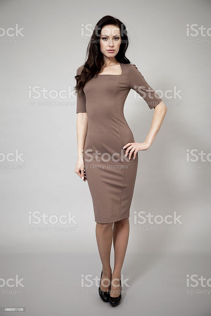 Beautiful professional model in dark brown dress royalty-free stock photo