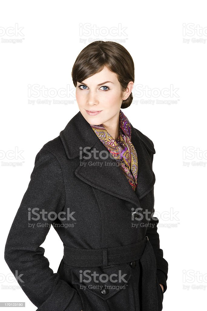 Beautiful professional woman formal wool coat isolated on white stock photo