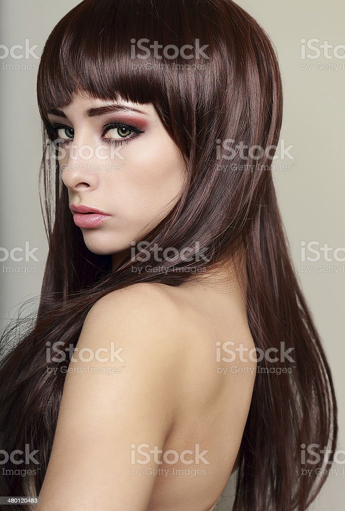 Beautiful Profile Of Woman Face With Long Health Hair Stock Photo