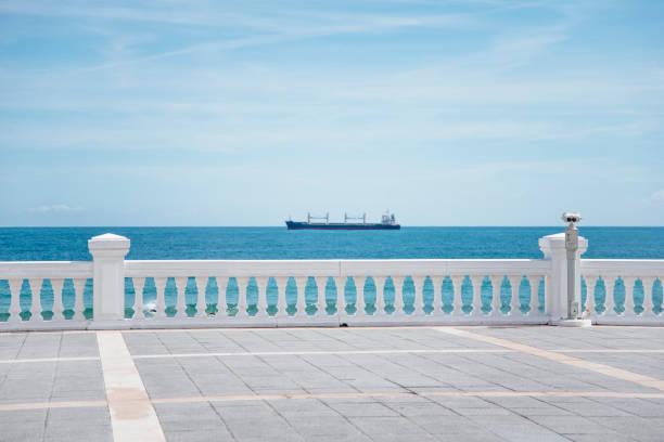 Beautiful promenade by the sea stock photo