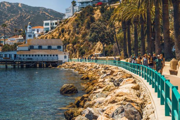 Beautiful Promenade in Avalon City, Catalina Island, California stock photo
