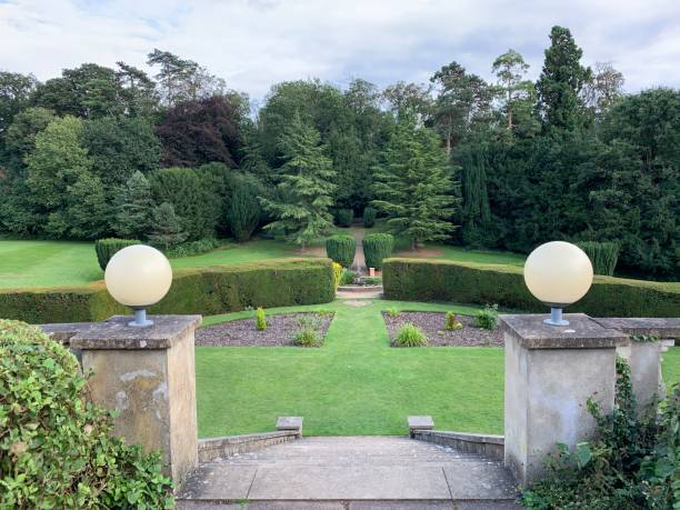 A beautiful public English park. stock photo