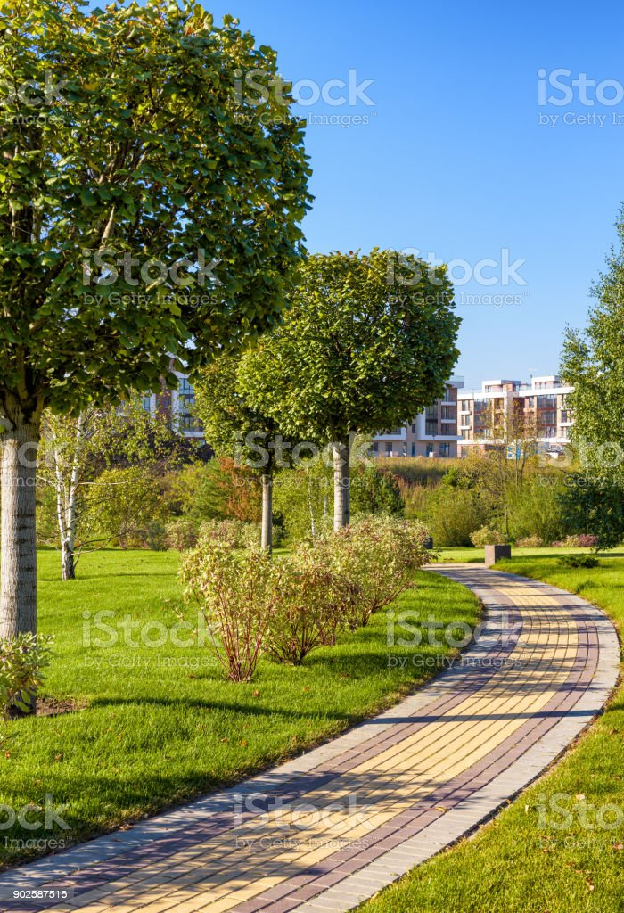 Beautiful public nature park in a modern town stock photo