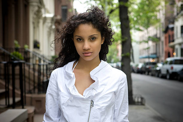 Beautiful Puerto Rican Young Woman Portrait, New York City stock photo