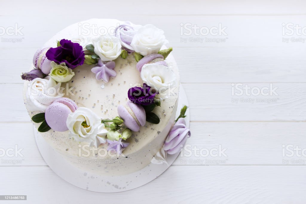 Beautiful Purple Cake Decoraited Of Fresh Flowers Macaroons And Meringue Heart Cake Love Concept Wedding Cake Birthday Cake Mothers Day 8 March Womens Day Design Template White Background Stock Photo Download