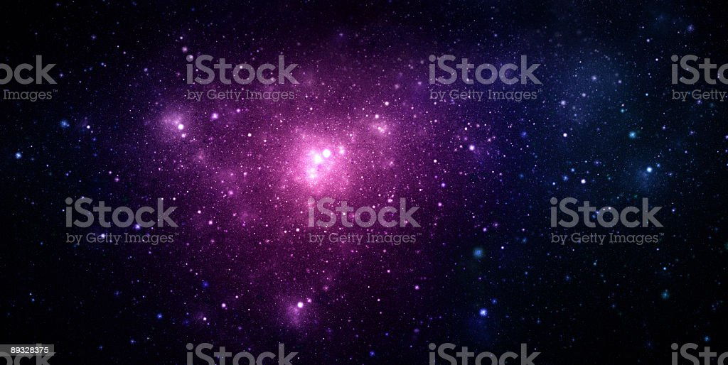 A beautiful purple nebula in space stock photo