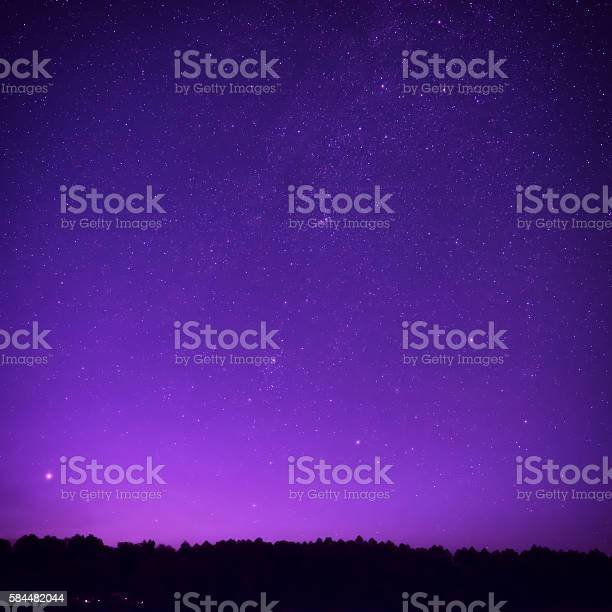 Photo of Beautiful purple night sky with many stars