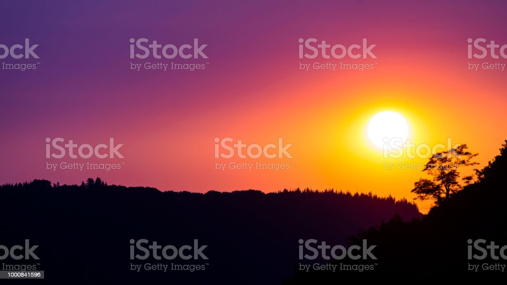 Schönen lila Himmel vor Sonnenuntergang über Schatten Baum auf den Hügeln Weingütern Abend. – Foto