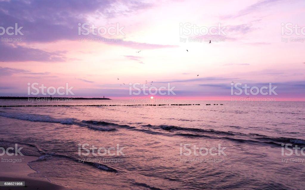 Beautiful purple sunset on the Baltic Sea – zdjęcie