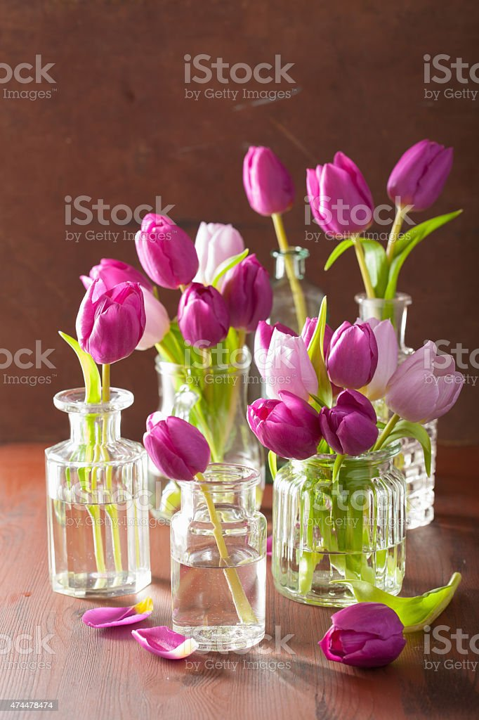 Beautiful Purple Tulip Flowers Bouquet In Vases Stock Photo More