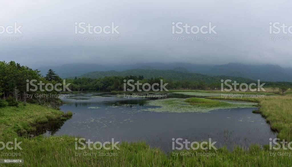 Beautiful quiet landscapes with reflecting waters of the Shiretoko 5-lakes stock photo