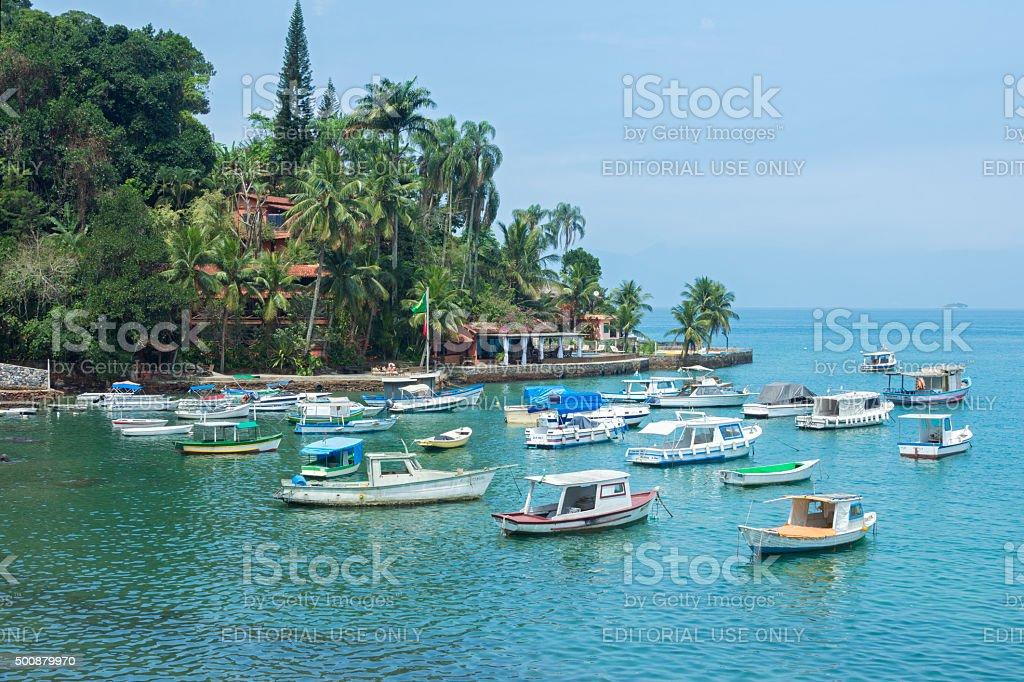 Beautiful quiet tropical port in Brazil stock photo