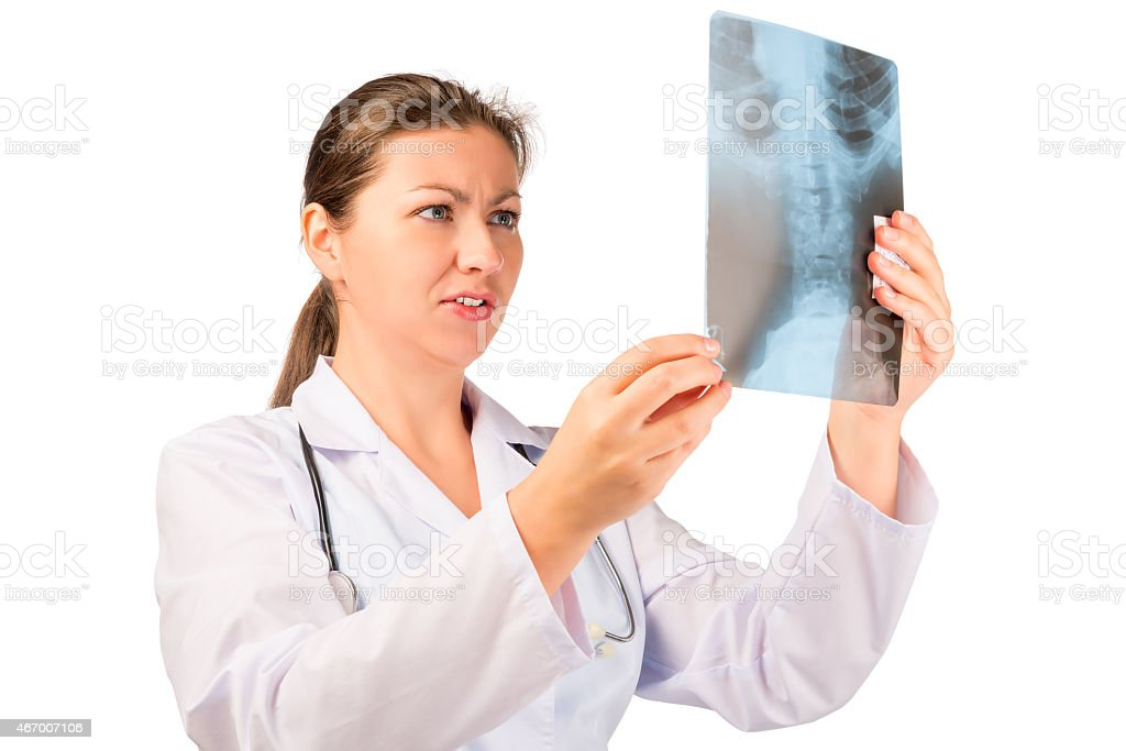 beautiful radiologist with an X-ray image stock photo