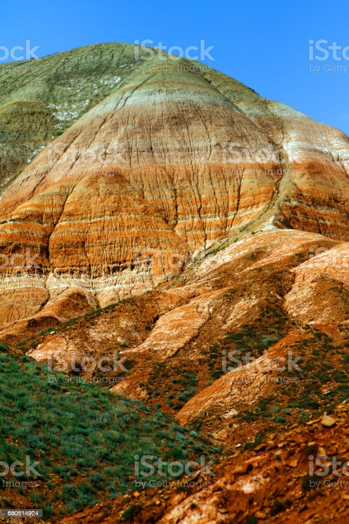 Beautiful rainbow colorful mountain with tracking trace stock photo