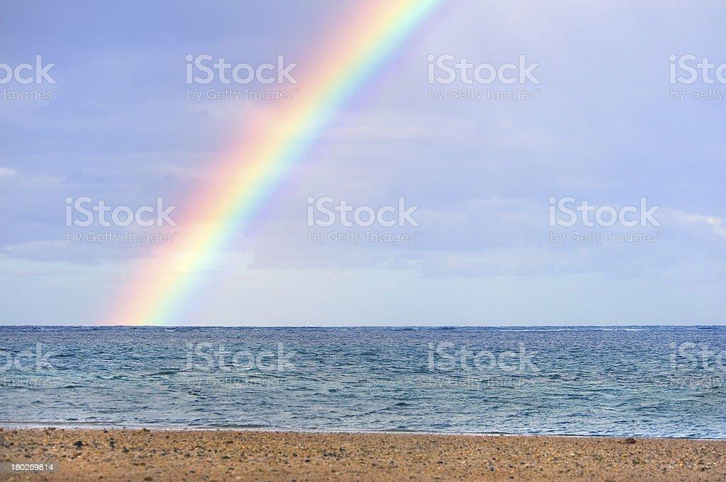 Beautiful Rainbow Over Ocean stock photo