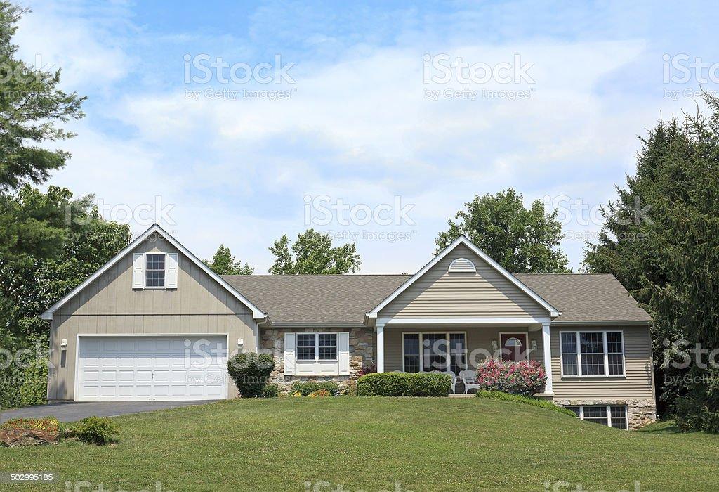 Beautiful Ranch Home stock photo