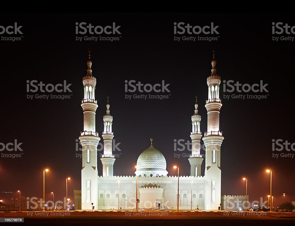 Beautiful Ras Al Khaimah Mosque near Dubai, UAE stock photo