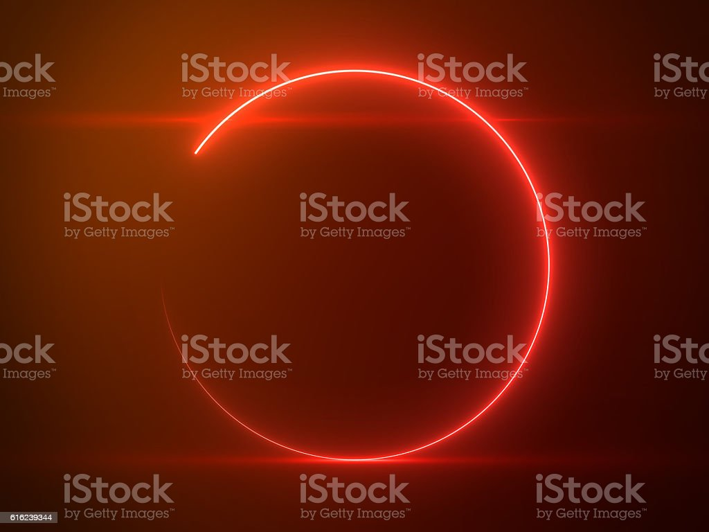 Beautiful Red Circle Light with Lens Flare on Particles Background stock photo