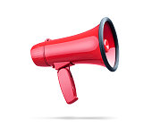istock Beautiful red megaphone, isolated on white background. File contains a path to isolation 1159797176