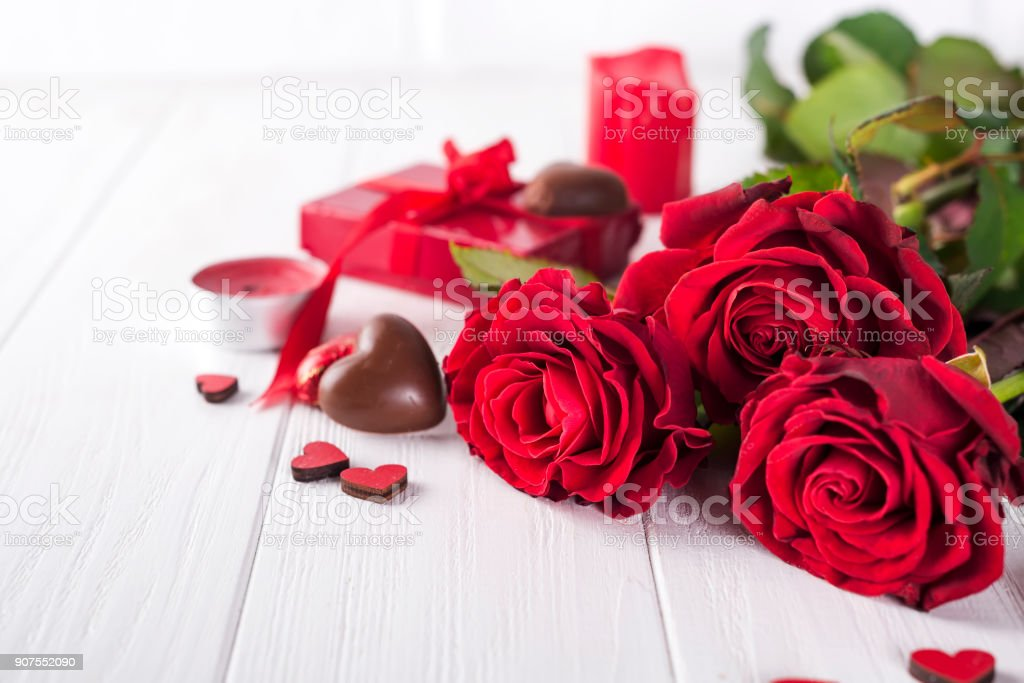 Beautiful red rose and dark chocolate for valentine day for Valentine's Day royalty-free stock photo