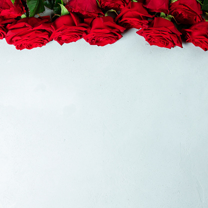 Roses on a white conctere background. Big beautiful bouquet of red roses. A gift for a wedding birthday Valentine's Day roses. Space for text and design with roses. Flat lay copyspace roses.