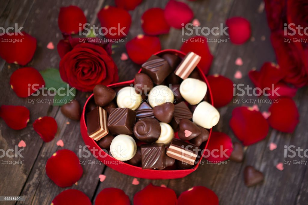 beautiful red roses for Mother's Day top view stock photo