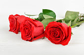 istock Beautiful red roses on a white wooden background. Flat lay, top view. Free space for text. 897329150
