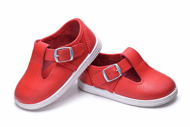 Beautiful red shoes for kids. stock photo