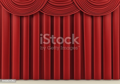 939155332 istock photo Beautiful red stage curtain. 3d render 846804362