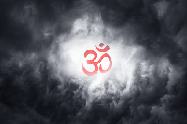 beautiful red symbol of buddhism religion in the clouds as a symbol of faith in unity and meditation. holiday: parinirvana, sangha, dharma day - vectors stock photos and pictures