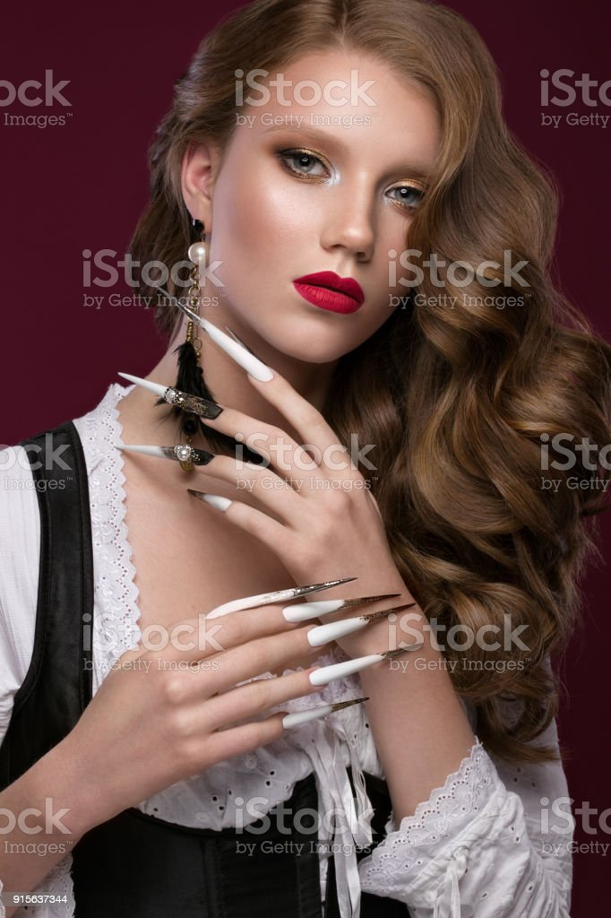 Beautiful Redhair Model Curls Bright Gold Makeup Long Nails And Red ...