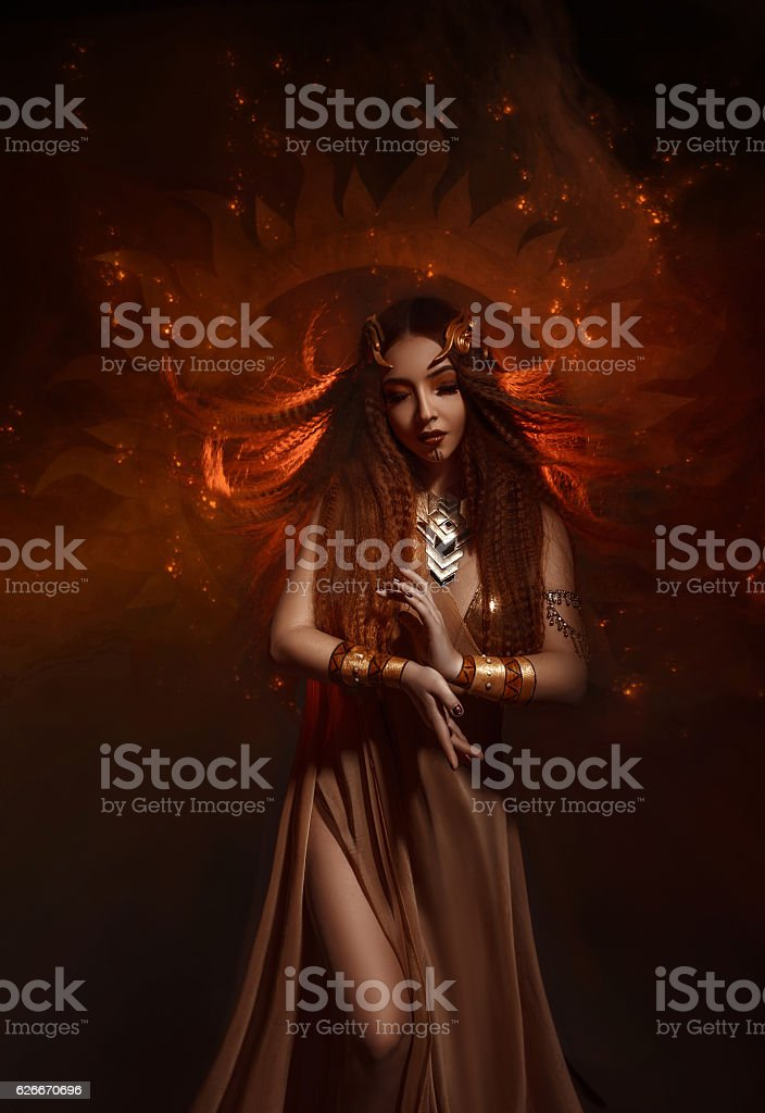 Beautiful, red-haired girl stock photo