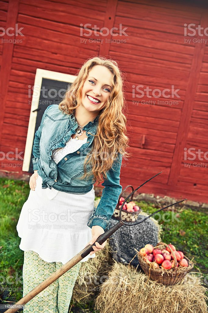 Beautiful redhead country lifestyle royalty-free stock photo