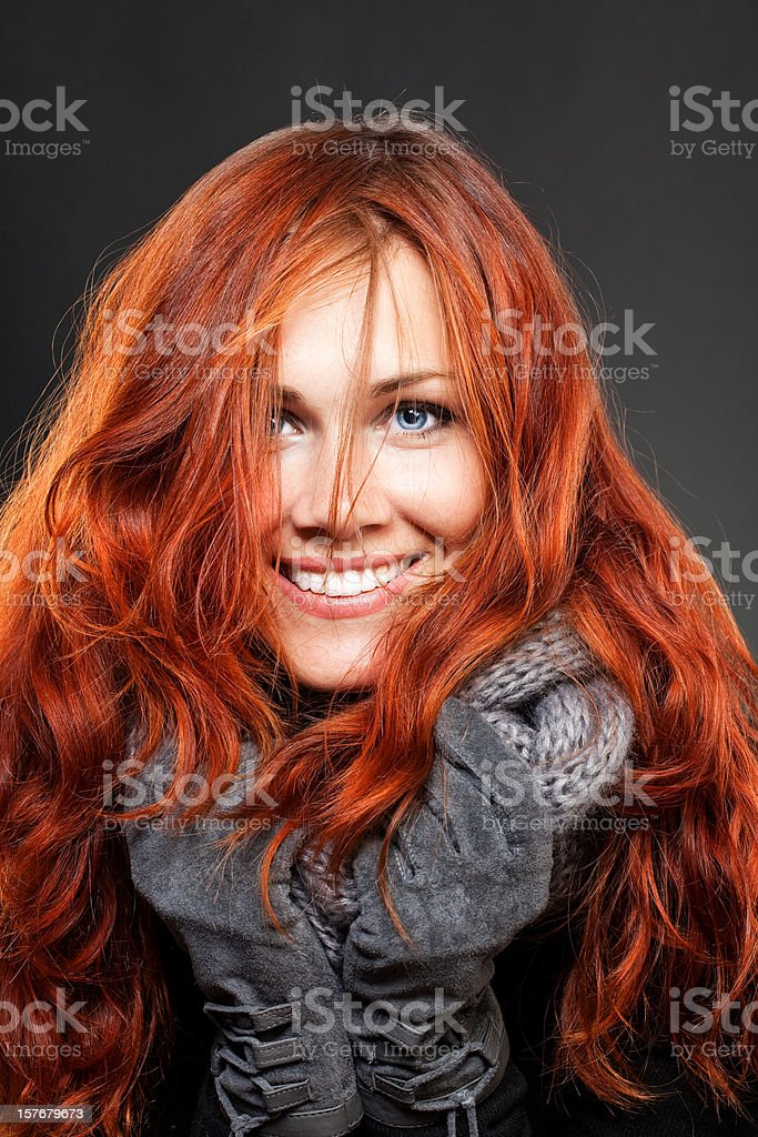 beautiful redhead girl stock photo