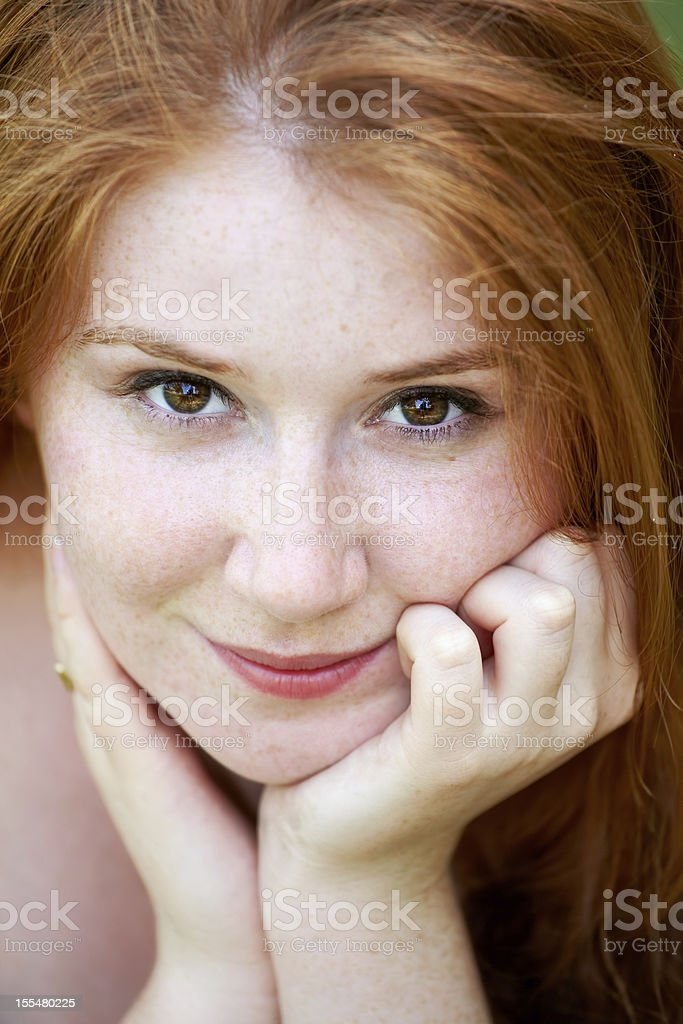 Beautiful redhead outdoor royalty-free stock photo