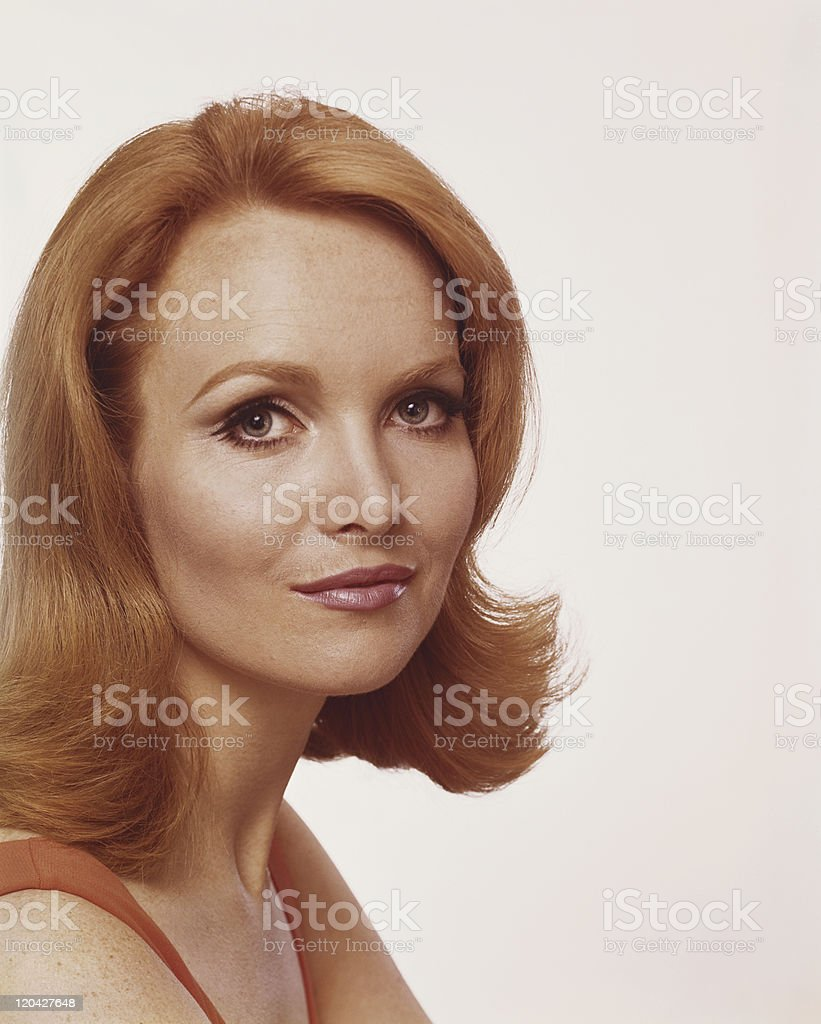 Beautiful redhead woman smiling, portrait royalty-free stock photo