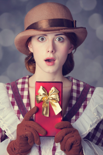 Beautiful Redhead Women With Gift Stock Photo - Download Image Now