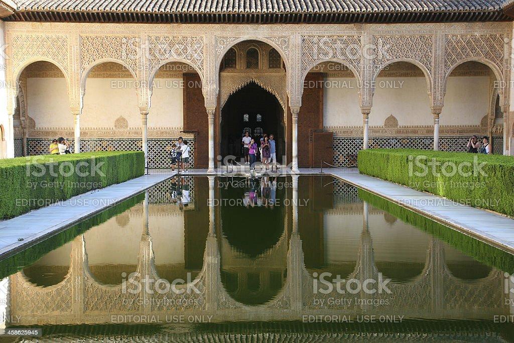 beautiful reflection Alhambra Granada stock photo