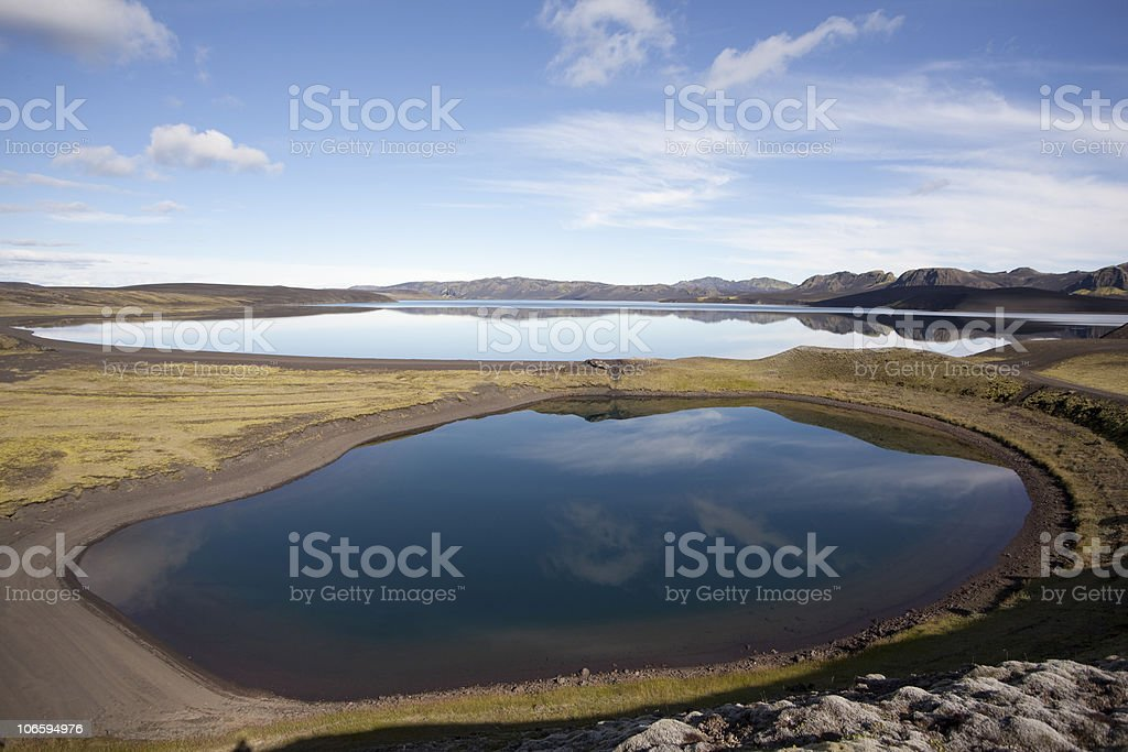 Beautiful Reflection and wonderful lakes in Iceland stock photo