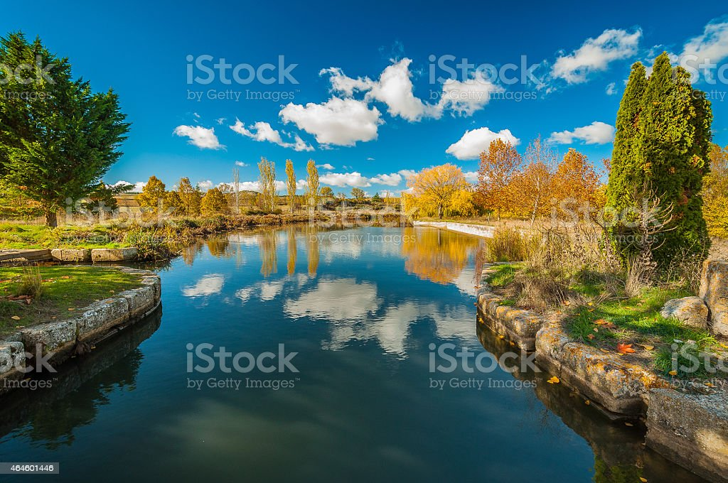 Beautiful reflection in the channel of Castilla stock photo