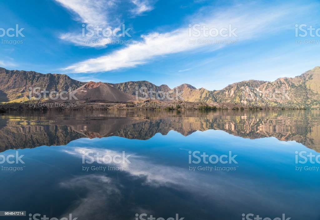 Beautiful Reflection of Segara Anak Lake royalty-free stock photo
