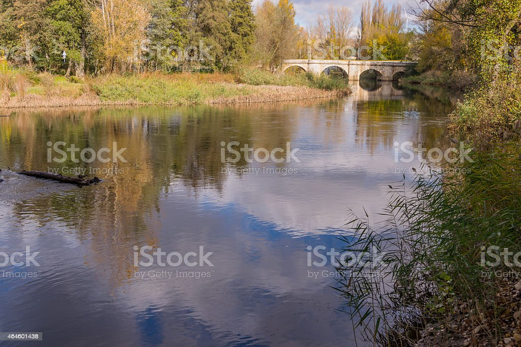 Beautiful reflection of trees and sky of the river Carrión stock photo