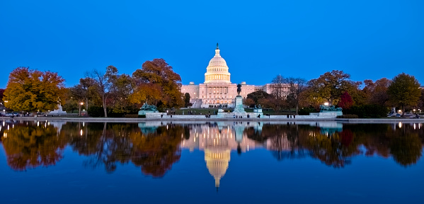 istock A beautiful reflection of United States Capitol at dawn 154891059