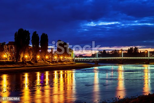 istock Beautiful reflection  the river in the city uzgorod Ukraine. 617382884